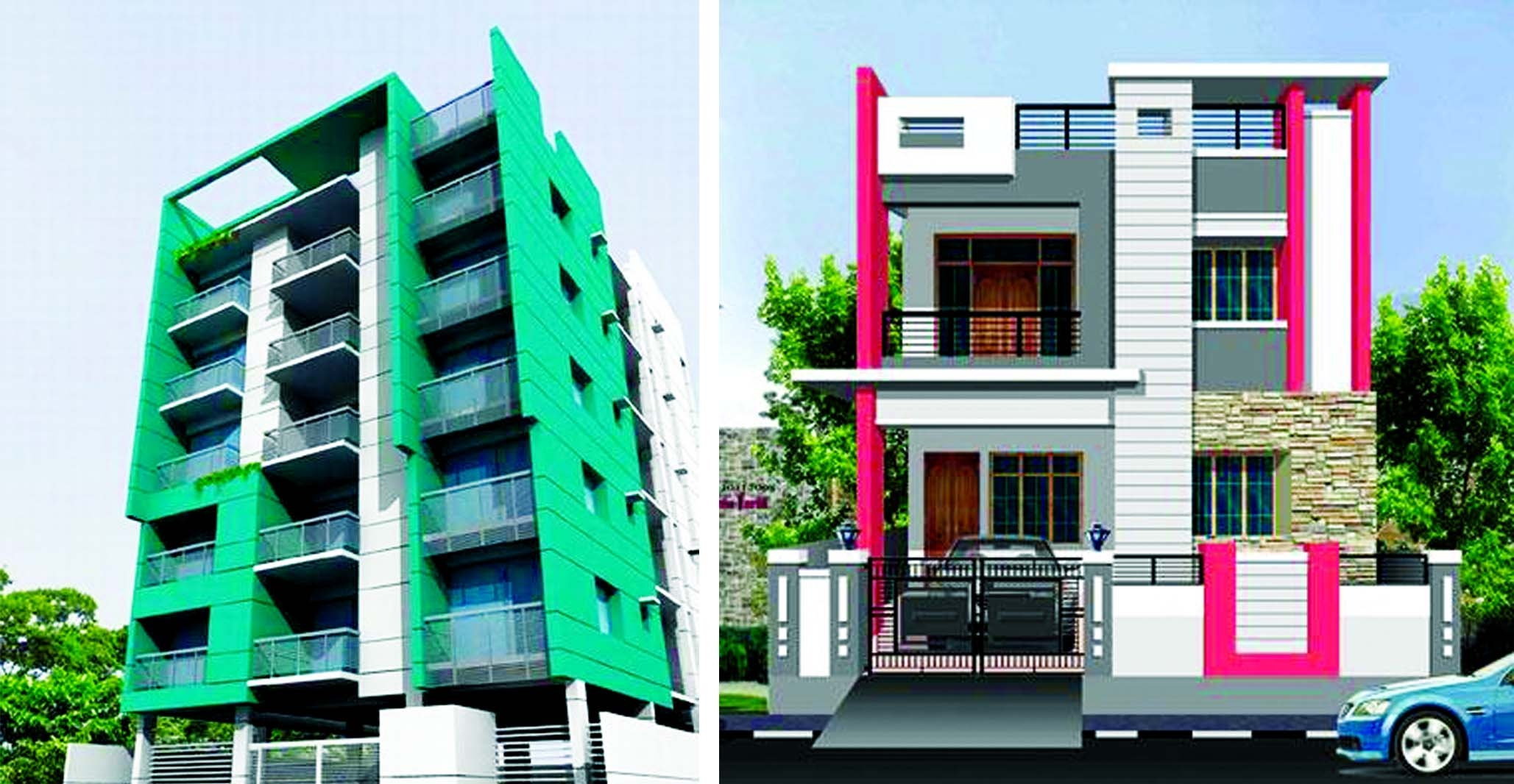 Exterior paint designs the new nation for Small house design for bangladesh