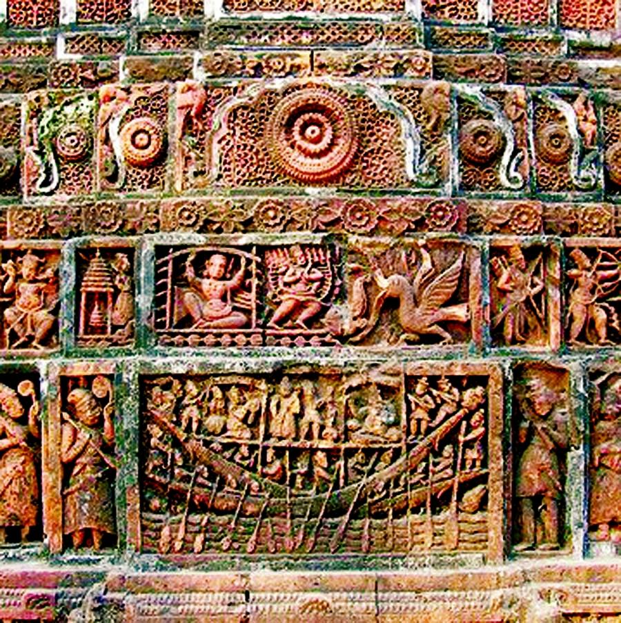 Terracotta at Kantojir Temple, Dinajpur