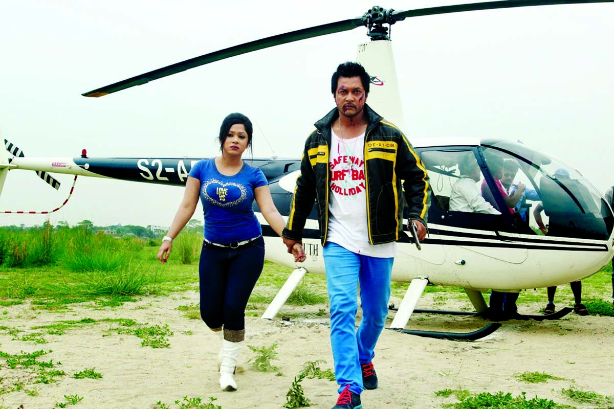 From the spot Jaanvi, Emon take part in shooting with helicopter