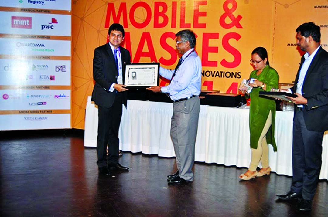 Mridul Chowdhury, CEO of mPower Social Enterprises Ltd, receiving 'mBillionth award 2014' in mAgriculture Category for 'Farmer Query System', a mobile-based agro advisory service developed, in India recently.