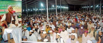SYLHET:   Renowned  Islamic scholar Allama Nurul Islam Olipuri speaking at the  first day of the three daylong Tafsirul Quran Mahfil as Chief Guest in Sylhet  organised by Khademul Quran Parishad, Sylhet recently.