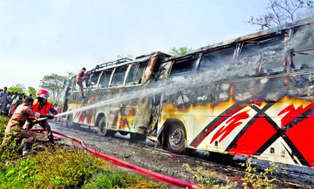 A fire broke out at two passenger buses from Cylinder explosion while a bus hit another standing bus from behind at Barakandi area of Gajaria Thana in Munshiganj leaving 20 people injured. Fire fighters later douse the flame on Thursday.