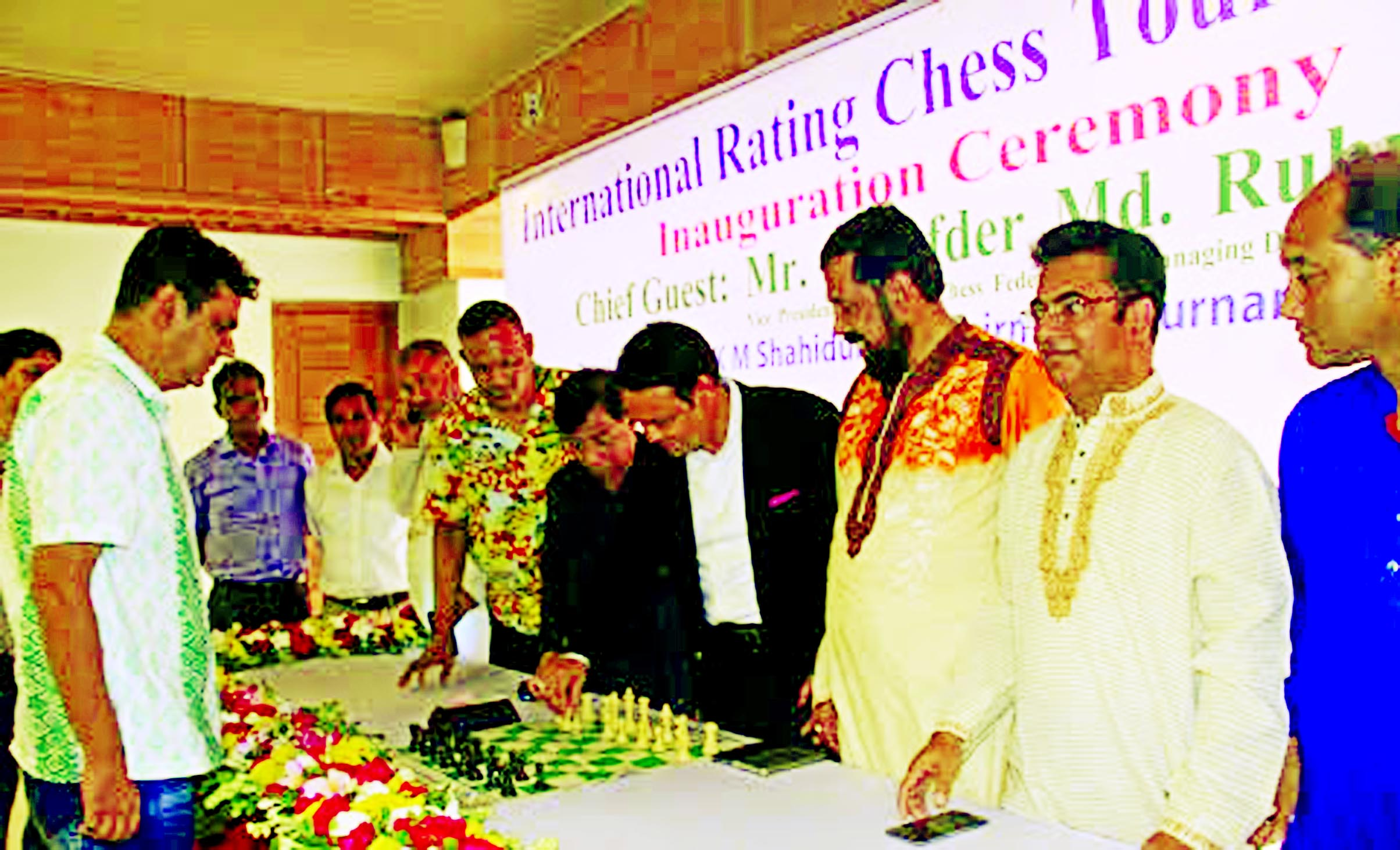 Vice-President of Bangladesh Chess Federation and Managing Director of Saif Powertec Limited Tarafder Md Ruhul Amin formally opens the International Rating Chess Tournament as the chief guest at National Sports Council tower auditorium lounge on Friday.