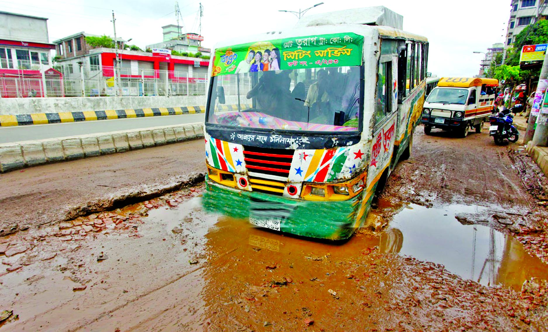 Home-bound people may face difficulties as many roads and highways still in dilapidated condition across the country as potholes being developed creating immense sufferings to commuters. This photo was taken from city