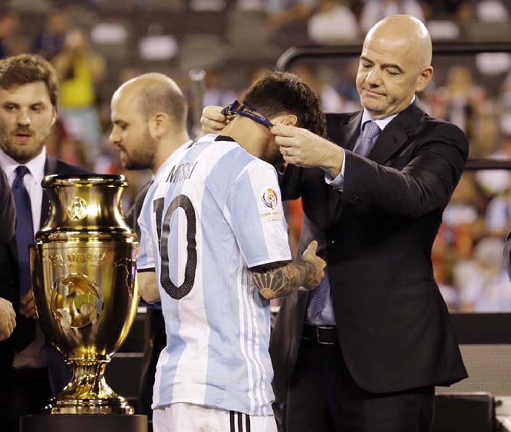 Argentinas Lionel Messi Receives His Medal During Trophy Presentations After The Copa America Centenario Championship Soccer Match In East Rutherford