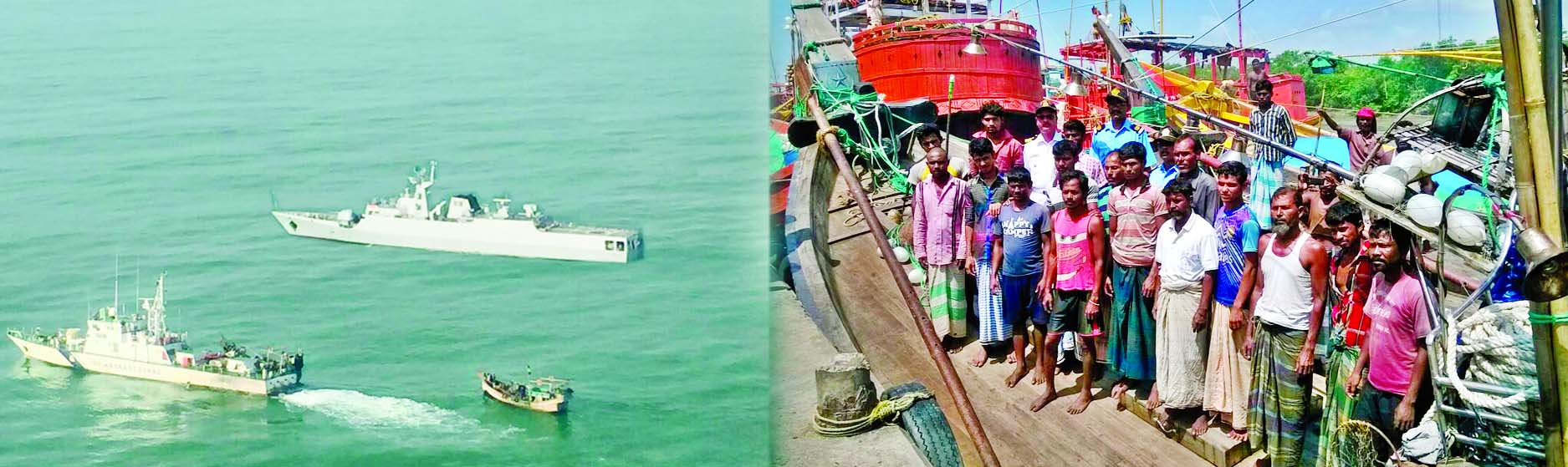 Sixty-two missing Bangladeshi fishermen, rescued by Indian Coast Guard from the Bay of Bengal, were returned to country along with two fishing trawlers by Bangladesh Naval Ship Prattaya and Kopotakkho.
