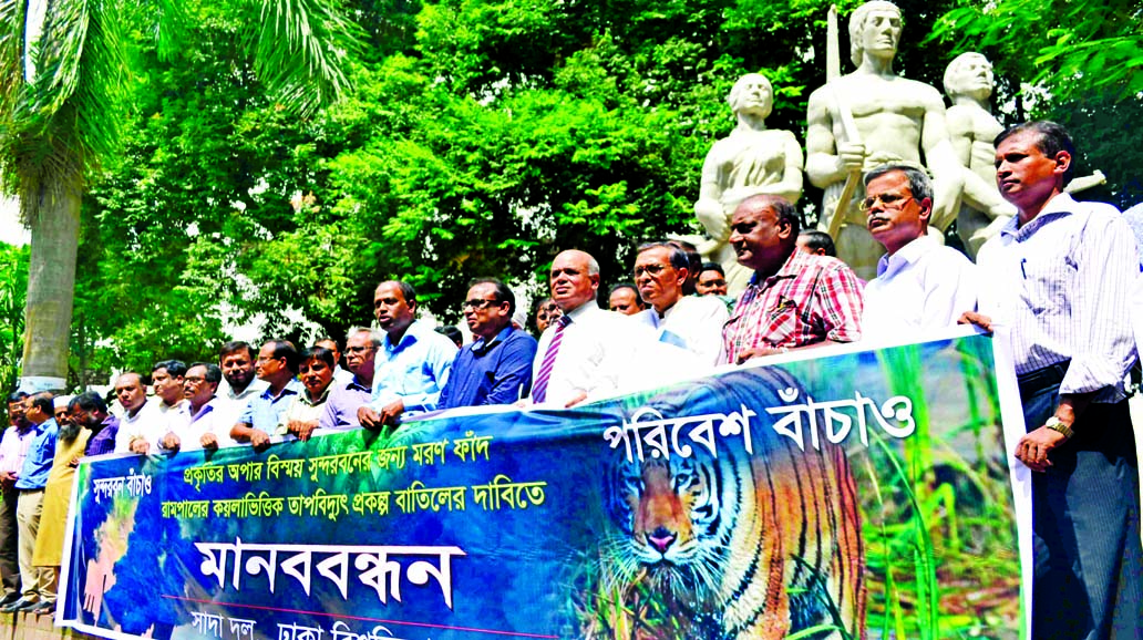 Teachers (White Panel) of Dhaka University formed a human chain at the foot of Aparajeya Bangla of the university on Monday demanding cancellation of Rampal Power Plant Project.
