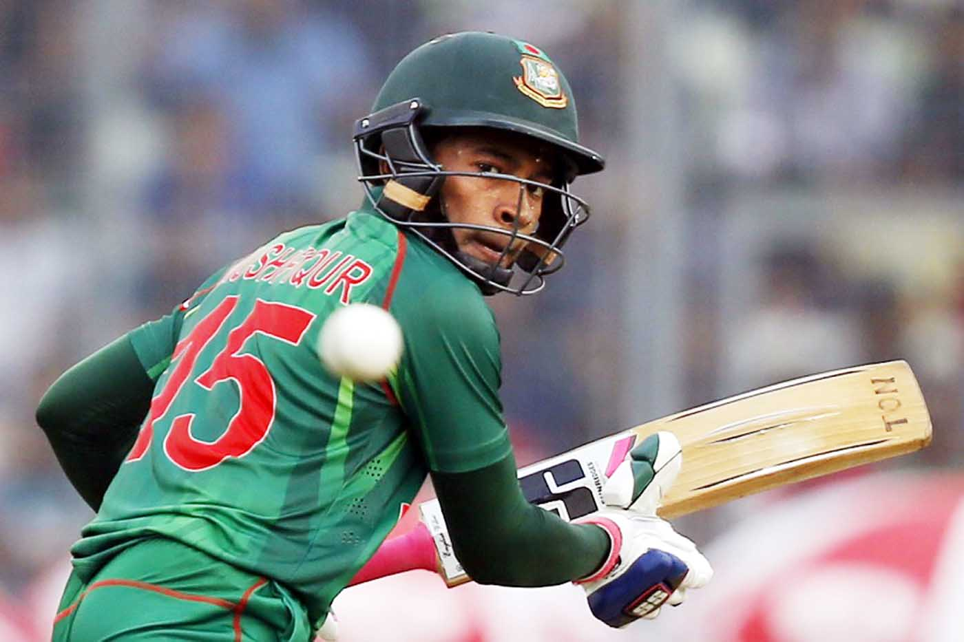 Mushfiqur Rahim plays a shot during the second one-day international cricket match against Afghanistan at the Mirpur Sher-e-Bangla National Cricket Stadium on Wednesday.