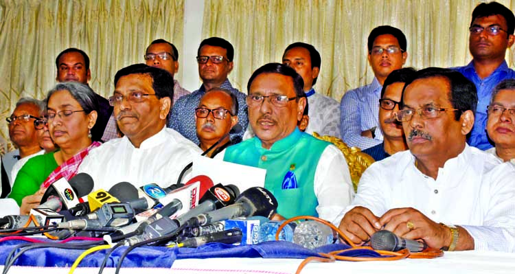 Newly elected General Secretary of Bangladesh Awami League Obaidul Quader speaking at a press conference in the city