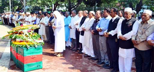 Namaz-e-Janaja of veteran freedom fighter Hemayet Uddin (Bir Bikram) was held at the Central Shaheed Minar on Monday.