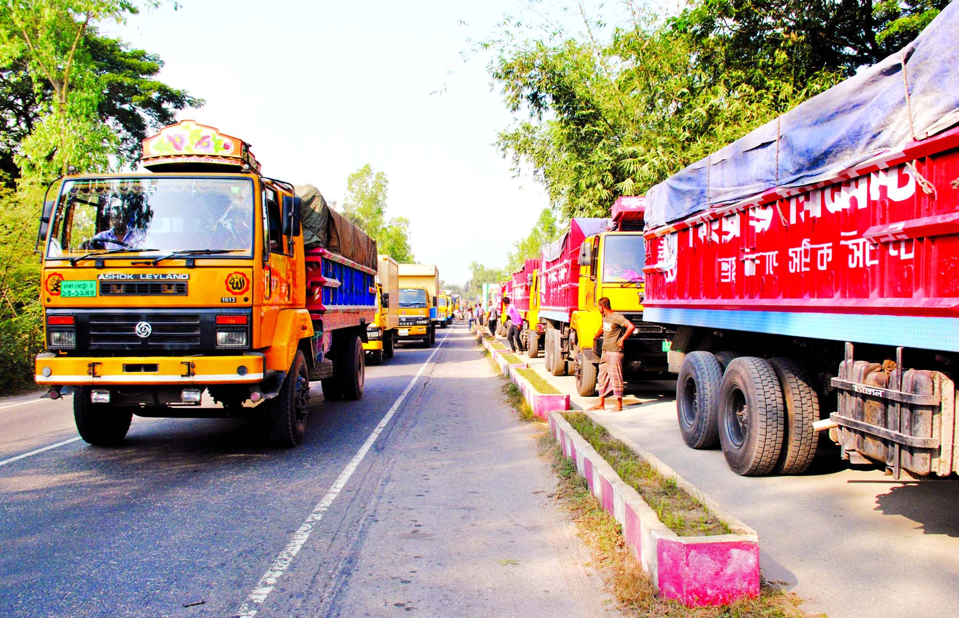 Hundreds of goods-laden trucks, pickup-van and other vehicles being stranded on Dhaka-Bogra Highway for several hours as Truck, Tank lorry Sramik Oikya Parishad continues indefinite strike in 16 northern districts for implementation of 7-pt demands. This photo was taken from Bogra on Friday.