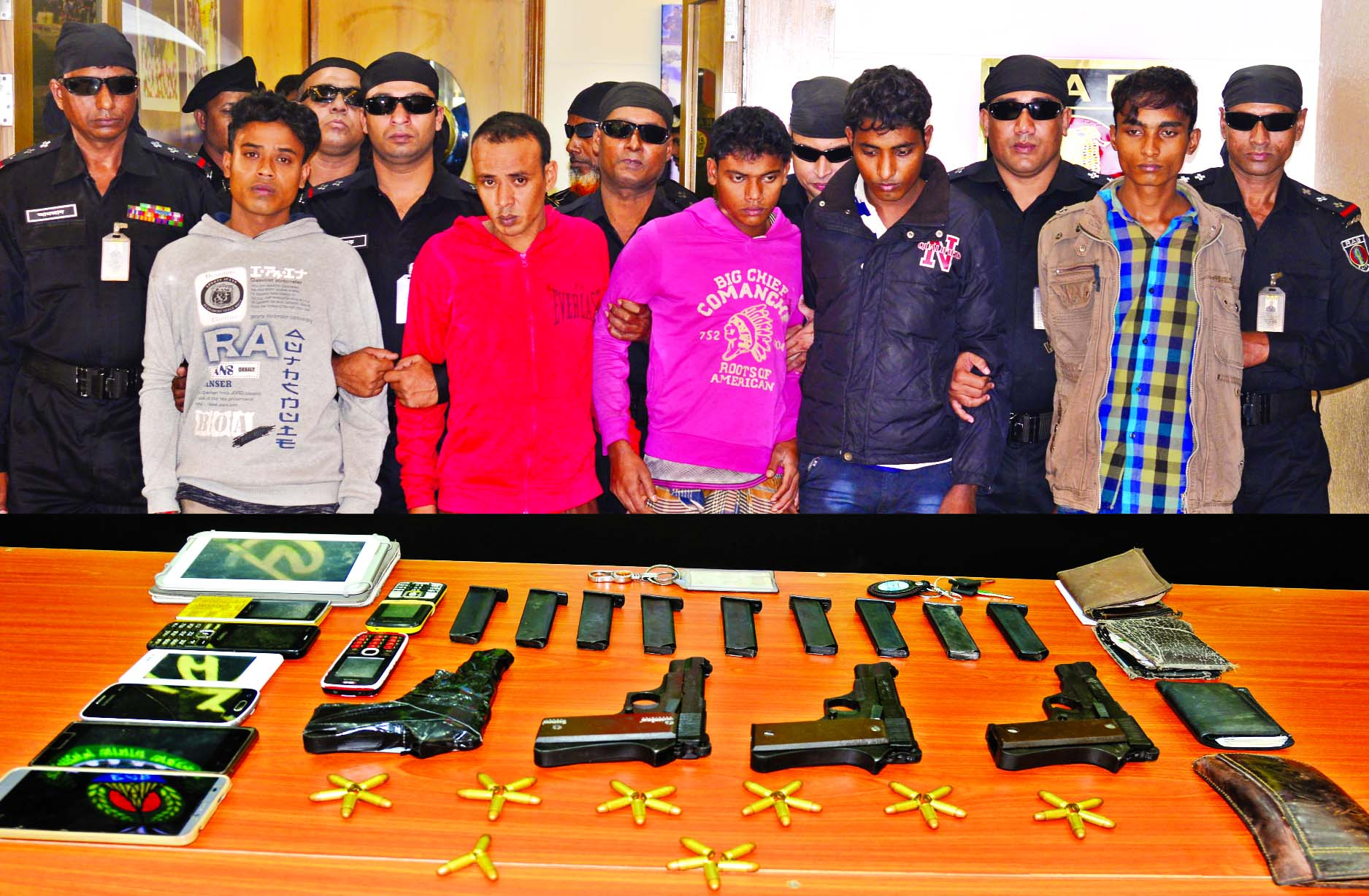 RAB arrested five alleged arms traders from city`s Badda and Uttara areas on Sunday night with arms from their possessions.