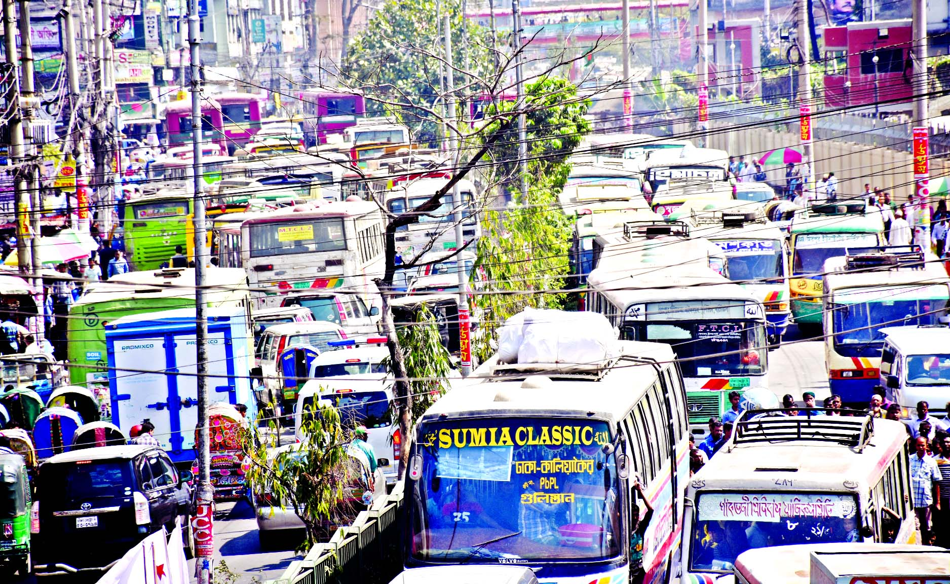 Hundreds of vehicles being stuck from Jatiya Press Club towards Paltan area due to meetings, rallies of various organisations which are a regular phenomena. But the authorities concerned are indifferent to help end traffic congestion. This photo was taken on Sunday.
