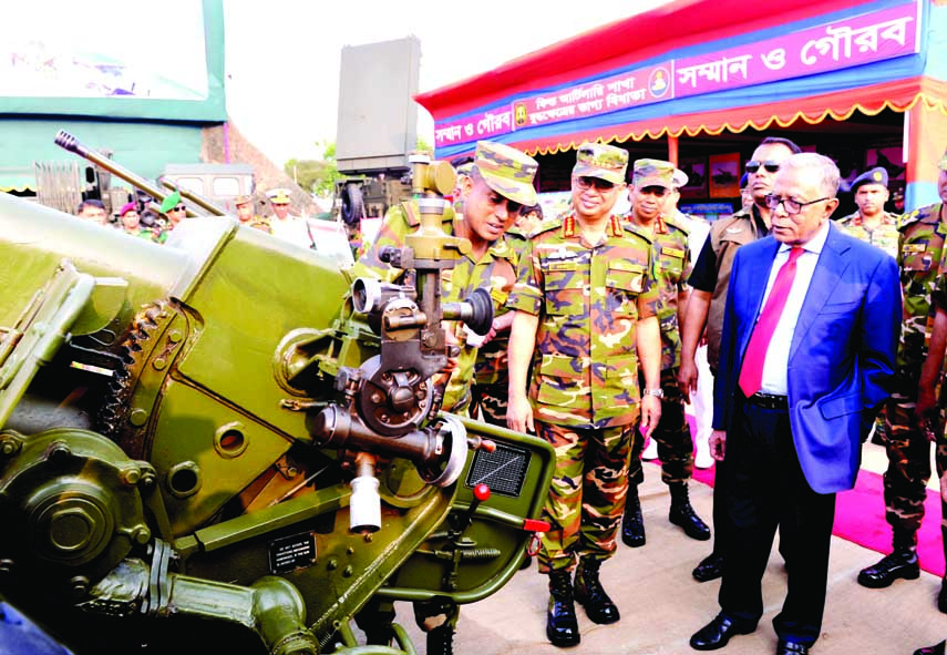President Abdul Hamid visited the Armed Forces Warfare Display at the National Parade Square in the city on Saturday marking the Independence and National Day.