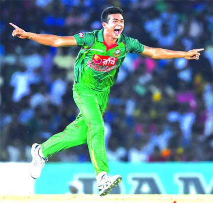 Taskin Ahmed became the fifth Bangladeshi player to take a hat-trick in ODIs during the 2nd ODI between Bangladesh and Sri Lanka at Dambulla International Stadium on Tuesday.