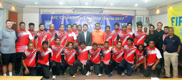 Photo session of Closing Ceremony of AFC Certificate Coaching Course 2017 at BFF House on Sunday.