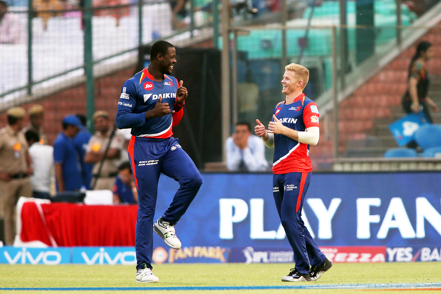 Sam Billings and Carlos Brathwaite commemorate Colin de Grandhomme's wicket with a celebratory jig during the IPL 2017 match between  Kolkata Knight Riders and Delhi Daredevils at Delhi on Monday.