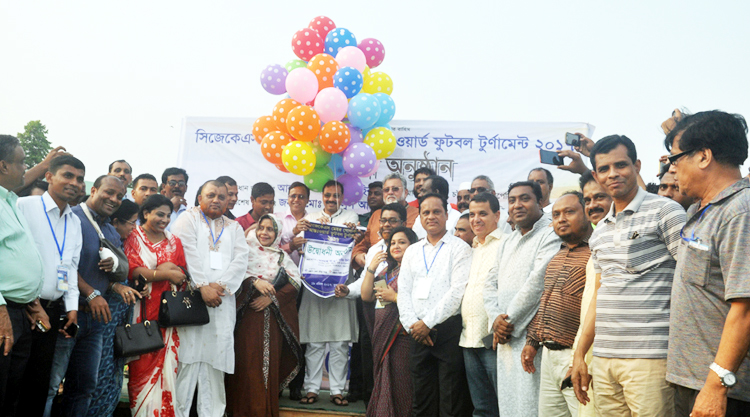 Mayor of Chittagong City Corporation AJM Nasir Uddin inaugurating the CJKS Inter-Ward Mayor Gold Cup Football Tournament by releasing the balloons as the chief guest at the Chittagong Stadium on Wednesday.