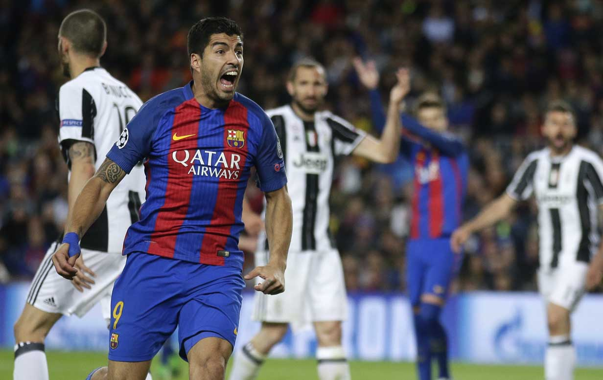 Barcelona's Luis Suarez shouts during the Champions League quarterfinal second leg soccer match between Barcelona and Juventus at Camp Nou stadium in Barcelona, Spain on Wednesday.