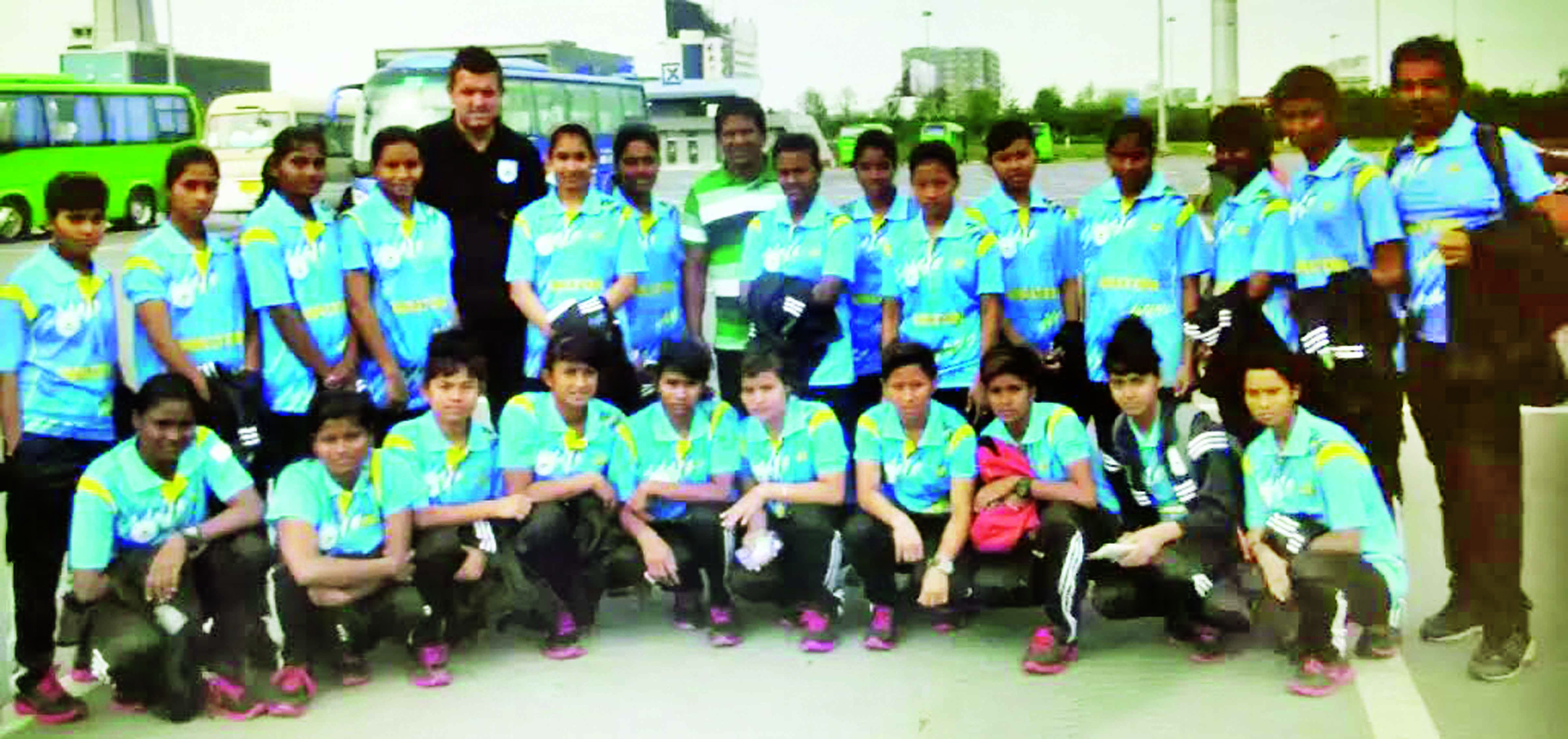Members of Bangladesh Under-16 Women's Football team pose for a photograph in China on Thursday. Bangladesh Under-16 Women's Football team are now staying in China to play five exhibition matches against the different teams of China.