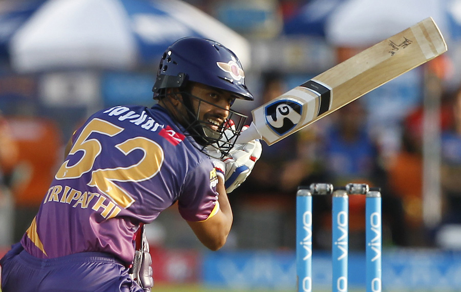 Rahul Ajay Tripathi of Rising Pune Supergiant bats during match 24 of the Vivo 2017 Indian Premier League between the Rising Pune Supergiant and the Sunrisers Hyderabad held at the MCA Pune International Cricket Stadium in Pune, India on Saturday.