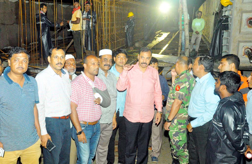 CCC Mayor A J M Nasir Uddin visiting  construction work of a bridge at Airport Road on Monday.