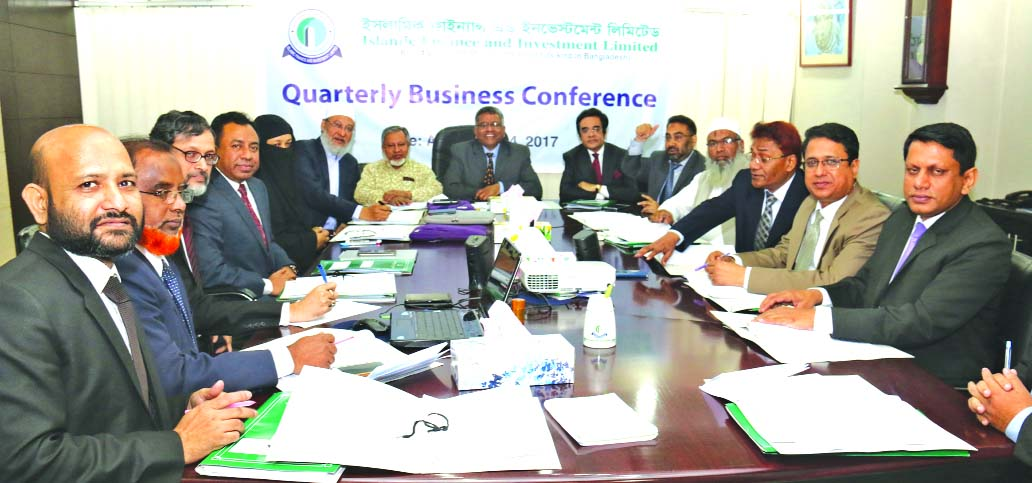 Afzalur Rahman, Chairman, Board of Directors of Islamic Finance and Investment Limited, presiding over its Quarterly Business Conference at its head office in the city recently. Kazi Mahbuba Akhter, Vice-Chairman, Anwar Hossain Chowdhury, KBM Moin Uddin Chisty, Mostanser Billa, Directors and AKM Shahidul Haque, Managing Director of the company were present among others.