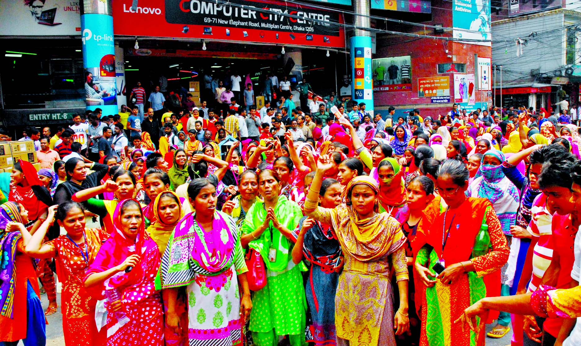 Hexa Garment workers organised a rally and blocked the city's Elephant Road on Thursday demanding three months arrear salary and reopening of the factory immediately.