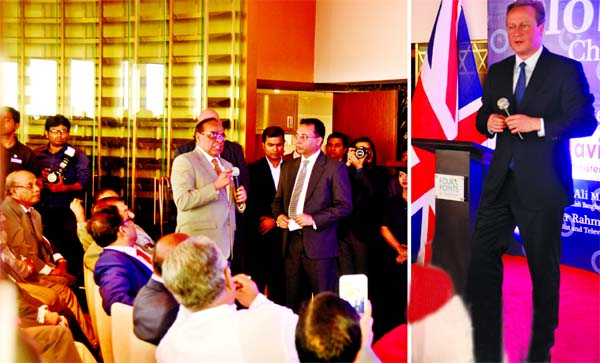 Barrister Mainul Hosein making a point on `terrorism` and `quality of democracy` at former British Prime Minister David Cameron`s meeting with the members of the Civil Society at a city hotel on Thursday.