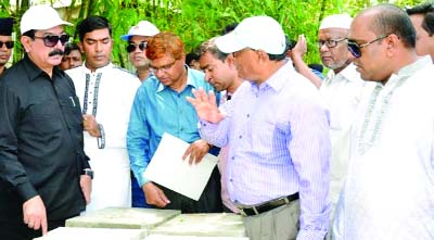 RANGPUR: State Minister for Local Government, Rural Development and Cooperatives Mashiur Rahman Ranga inspecting cement concrete block works at Laksmitari Union in Gangachara Upazila on Thursday.