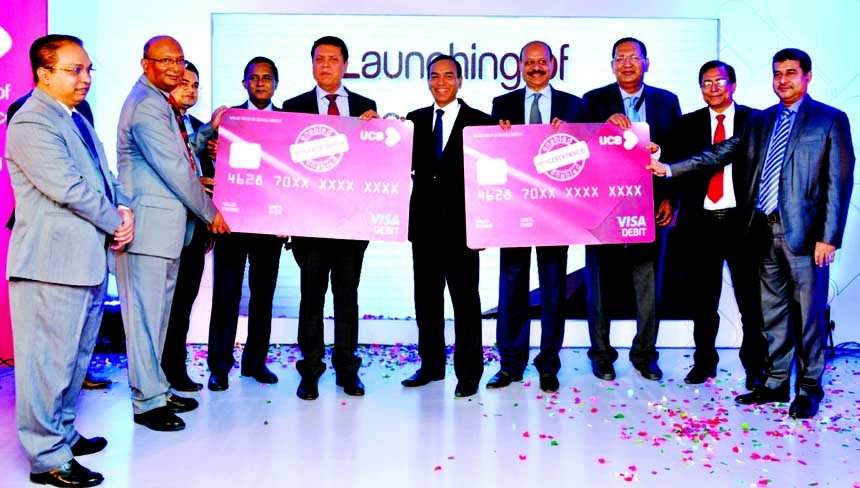 Muhammed Ali, Managing Director of United Commercial Bank Limited along with Senior Managers of the bank at the launching of Credit Card Reward Point redemption and e-commerce through Debit Card.