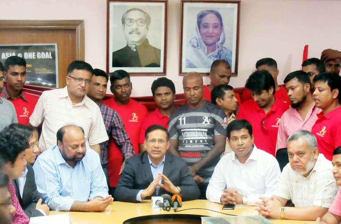 Senior Vice-President of Bangladesh Football Federation (BFF) and Chairman of the Professional Football League Committee Abdus Salam Murshedy speaking during the players' transfer window of Bashundhara Kings at the BFF House on Saturday. Bashundhara Kings  will take part in the upcoming Bangladesh Championship League.