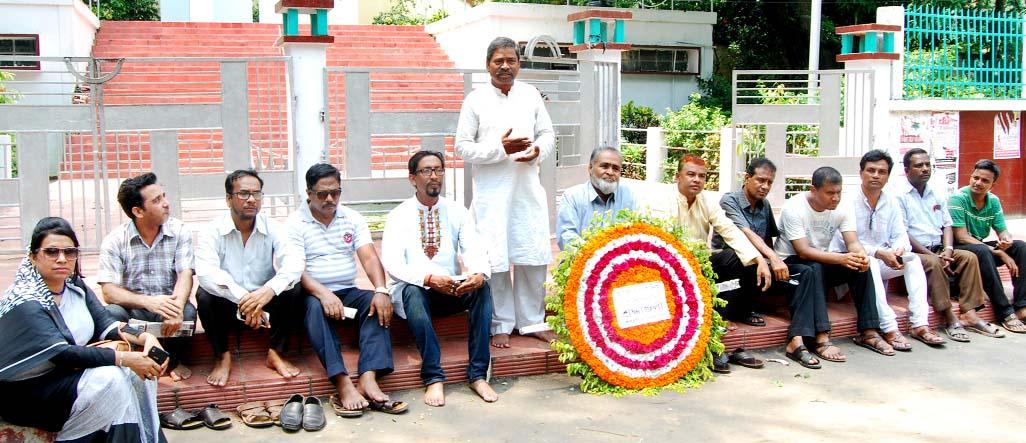Md Abdur Rahim, General Secretary of Bangabandhu and  Jatiya Char Neta Smriti Parishad speaking at a discussion meeting marking the Constitutional Rights  Day of Bangla language in Asham on Thursday.