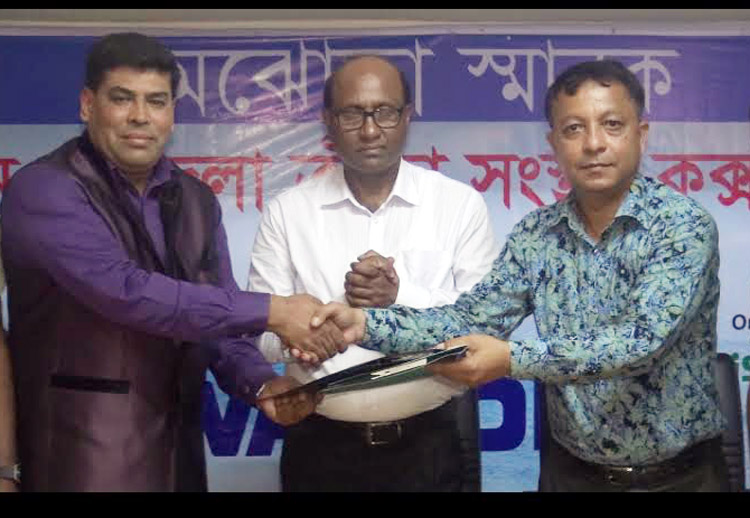 Operative Director and Head of Sports & Welfare Department of Walton Group FM Iqbal Bin Anwar Dawn (left) shaking hands with General Secretary of Cox's Bazar District Sports Association (CDSA) Anup Barua Apu (right) after signing a Memorandum of Understanding at the conference room of CDSA on Saturday.