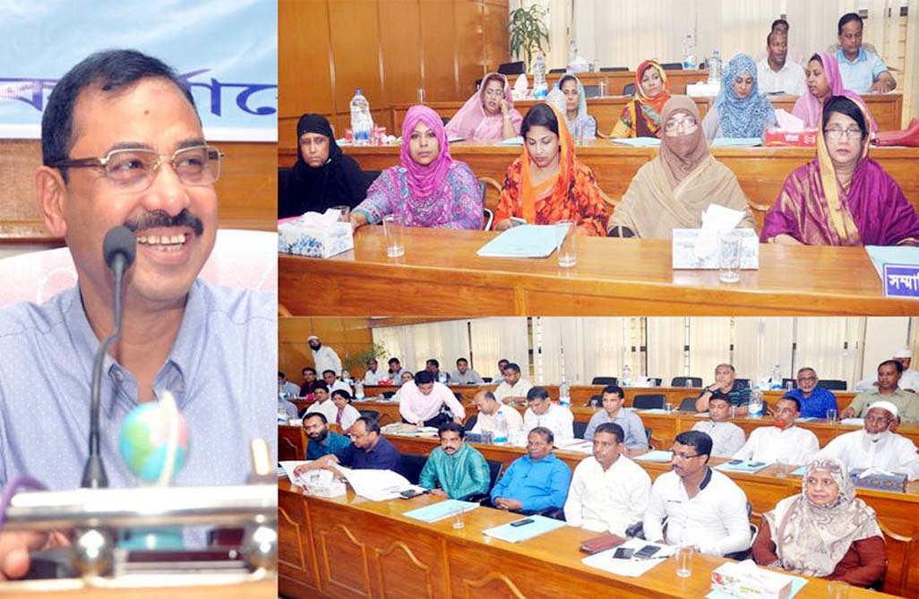 CCC Mayor AJM Nasir Uddin speaking as Chief Guest at the 22nd general meeting of the 5th Parishad of the Corporation yesterday.