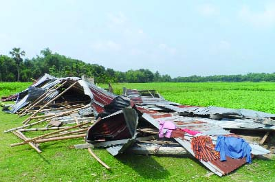 RAJBARI: Hatbaria Non-Govt primary School was damaged by nor'wester recently.