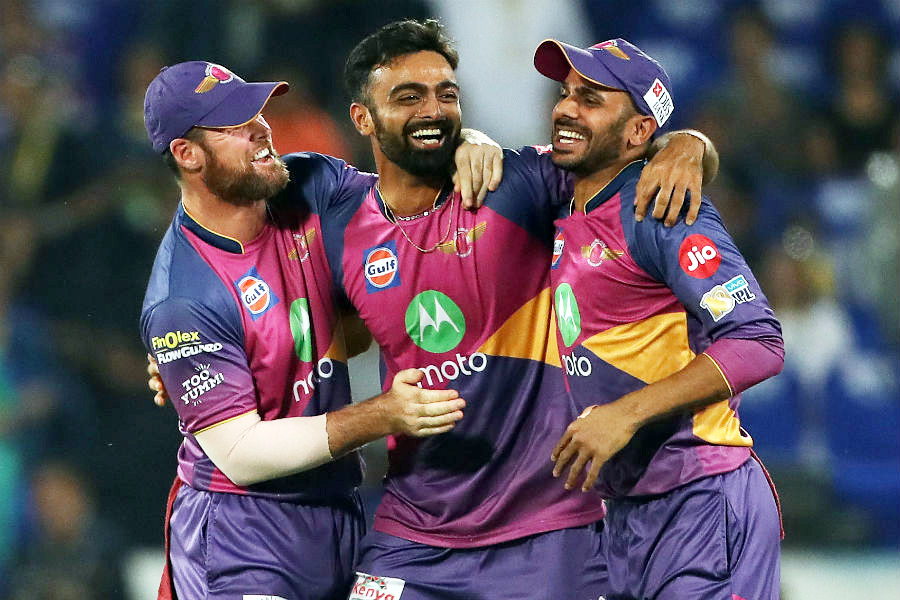Jaydev Unadkat celebrates a sensational return catch to dismiss Lendl Simmons during the IPL final match between  Mumbai Indians and  Rising Pune Supergiant at Hyderabad on Sunday.