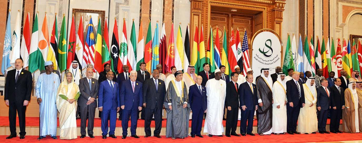 Bangladesh Prime Minister Sheikh Hasina, US President Donald Trump and Saudi King Salman bin Abdulaziz Al Saud, among others, pose for photograph at the Arab Islamic American(AIA) Summit in Riyadh on Sunday.