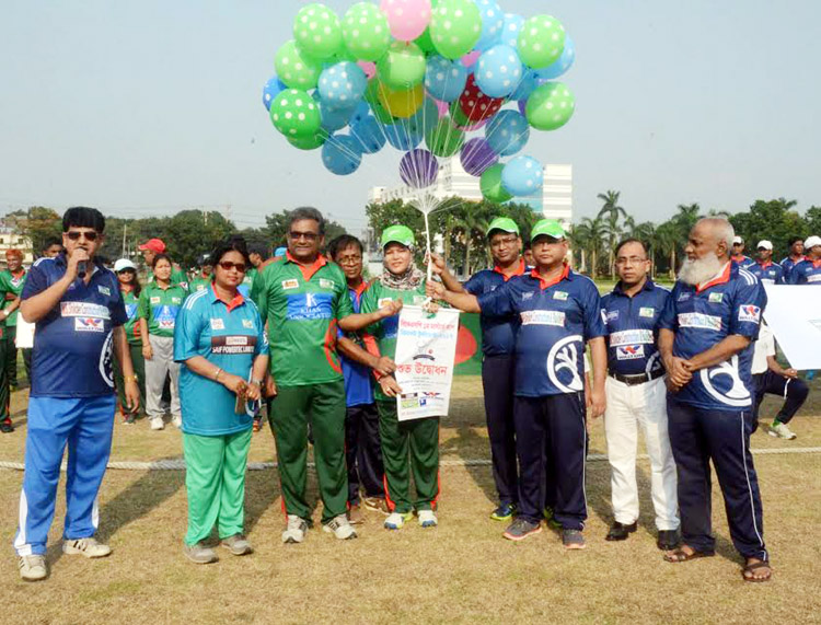 Director (Administration & Finance) of BKSP ABM Ruhul Azad inaugurating the BKSP 1st Masters Cup Cricket Tournament by releasing the balloons as the chief guest at the BKSP Ground on Tuesday.
