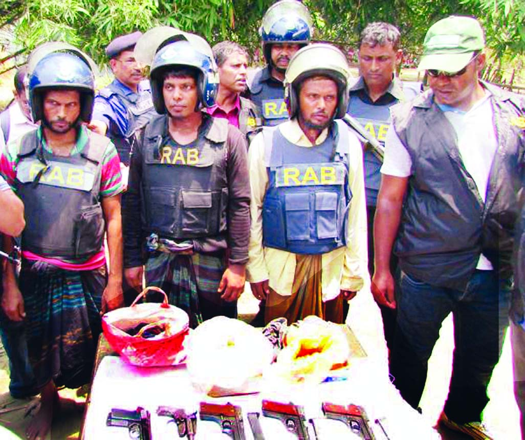 Members of Rapid Action Battalion -5 in separate drives arrested three members of Neo-JMB and recovered firearms, bullets and explosives from Gomostapur and Nachole upazilas of Chapainawabganj district on Wednesday.