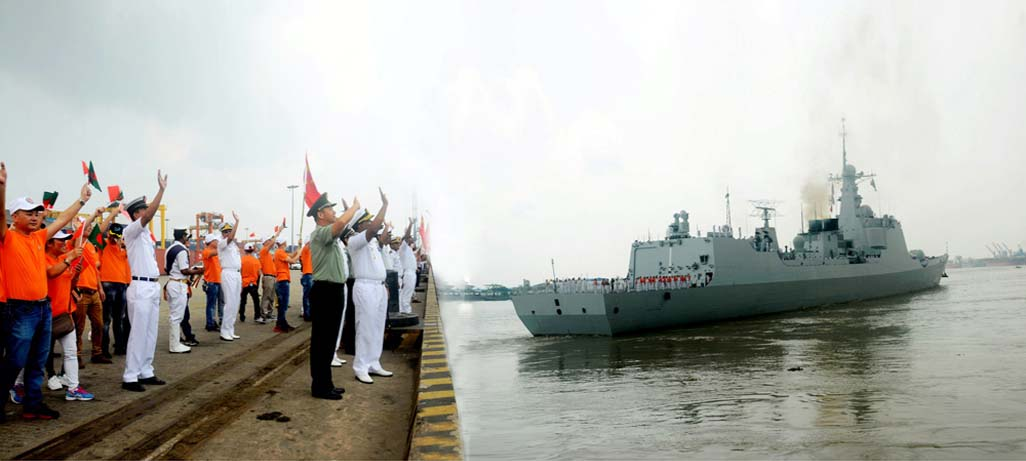 Three warships of Chinese Navy leaving Chittagong Port after ending 4-day goodwill visit yesterday .