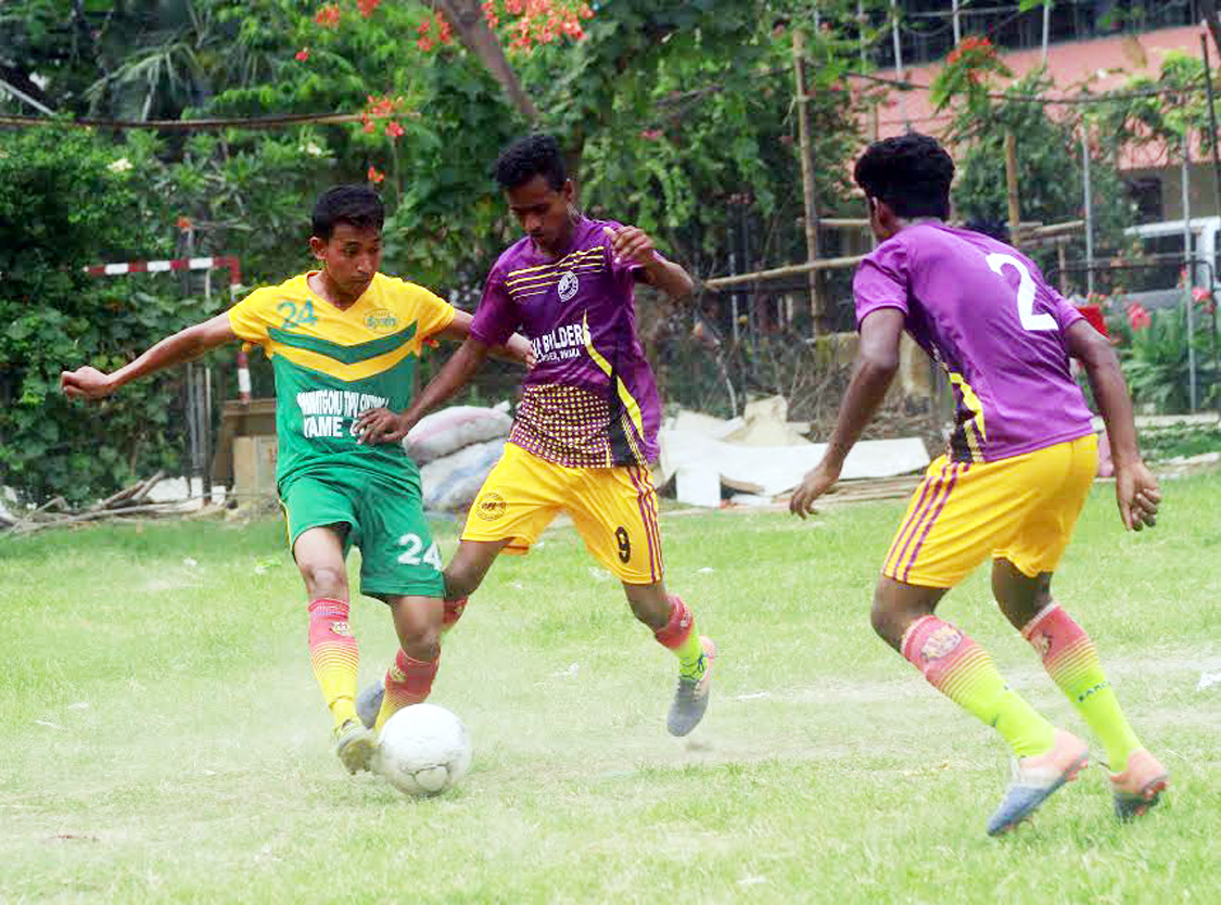 An action from the match of the Dhaka North City Corporation and Dhaka South City Corporation Pioneer Football League between Alhaj Nur Islam Football Academy and Madrasapara Sporting Club at the Paltan Maidan on Saturday. Alhaj Nur Islam Football Academy won the match 2-0.