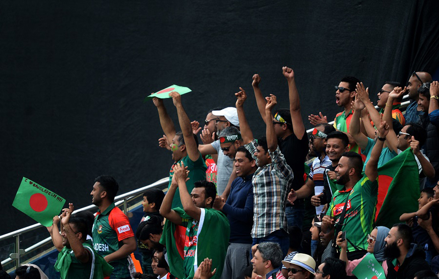 Bangladesh fans cheer a boundary during the ICC Champions Trophy Warm-up match between Bangladesh and Pakistan at Edgbaston on Saturday  in Birmingham, England.
