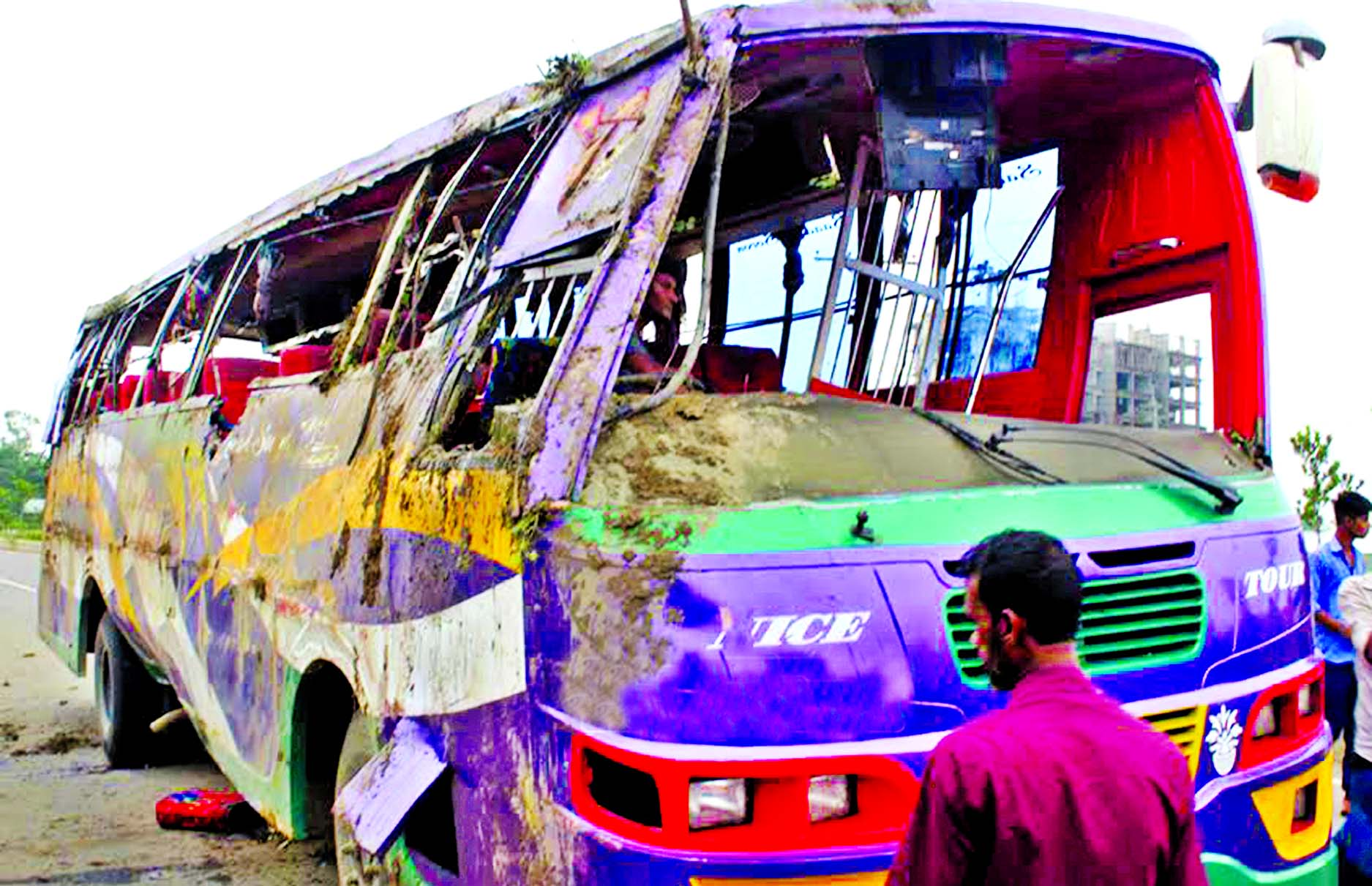 At least three people were killed and 22 injured as passenger bus met an accident on Dhaka-Mymensingh Highway at Trishal in Mymensingh on Saturday.