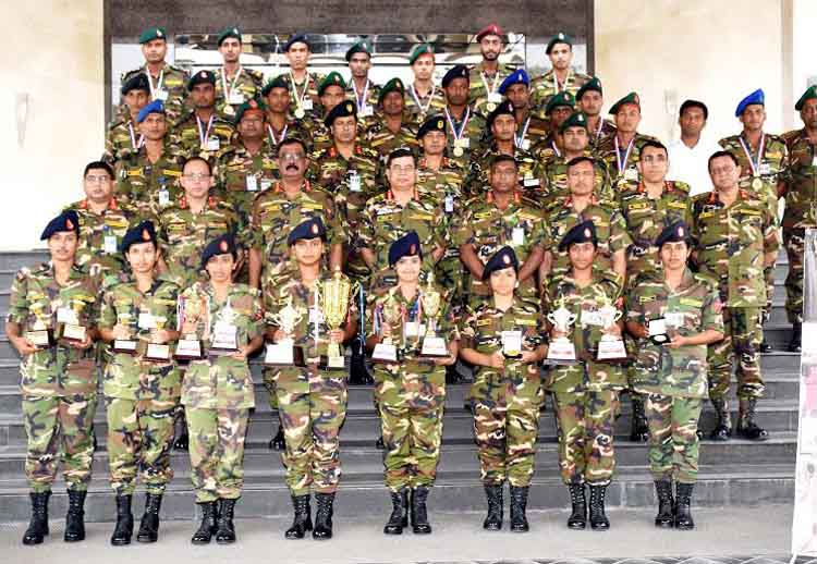 Chief of Army Staff General Abu Belal Muhammad Shafiul Huq and the sportsmen, sportswomen of Bangladesh Army who won medals in different disciplines of national and international competitions  pose for a photo session at the Headquarters of Bangladesh Army in Dhaka Cantonment on Sunday.