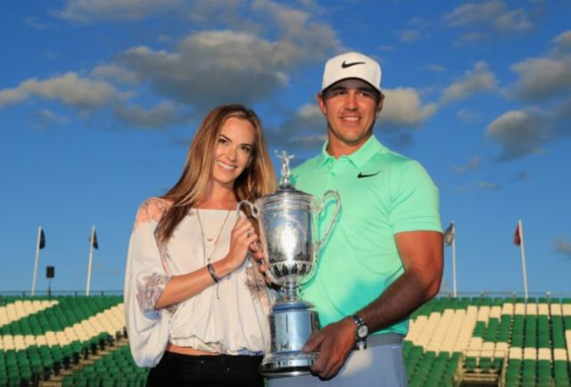 Jena Sims and Brooks Koepka celebrate Brooks' U.S. Open victory.