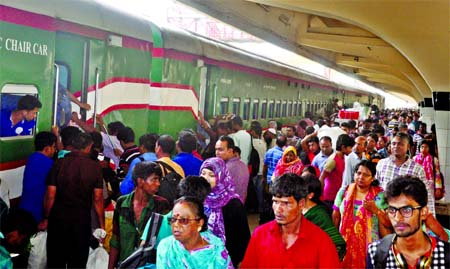 Kamalapur Railway Station being overcrowded as hundreds of passengers started to go for village home om Wednesday to celebrate Eid-ul- Fitr with their near and dear ones.