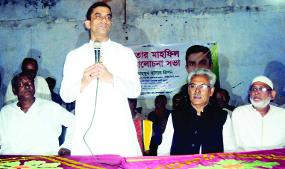 SAGHATA(Gaibandha): Mahmud Hasan Ripon, former president, Bangladesh Chhatra League speaking at a discussion meeting and an Iftar Mahfil as Chief Guest recently.