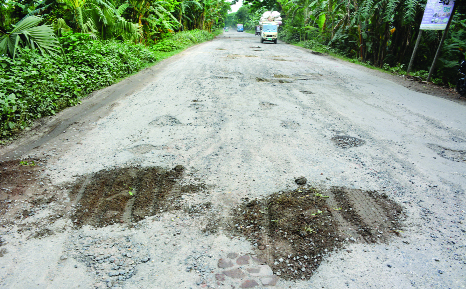 BOGRA:  Dilapidated  Bonani- Matidhali Road at Bashbaria needs immediate repair. This snap was taken on Thursday.
