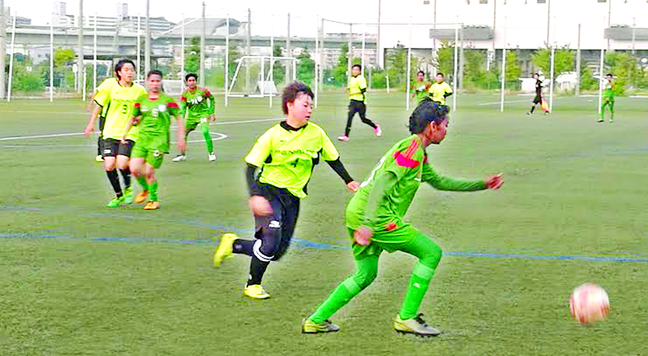 A scene from the exhibition football match between Bangladesh Under-16 National Women's Football team and Seisho High School at Osaka in Japan on Friday. Bangladesh Under-16 National Women's Football team won the match 3-1.